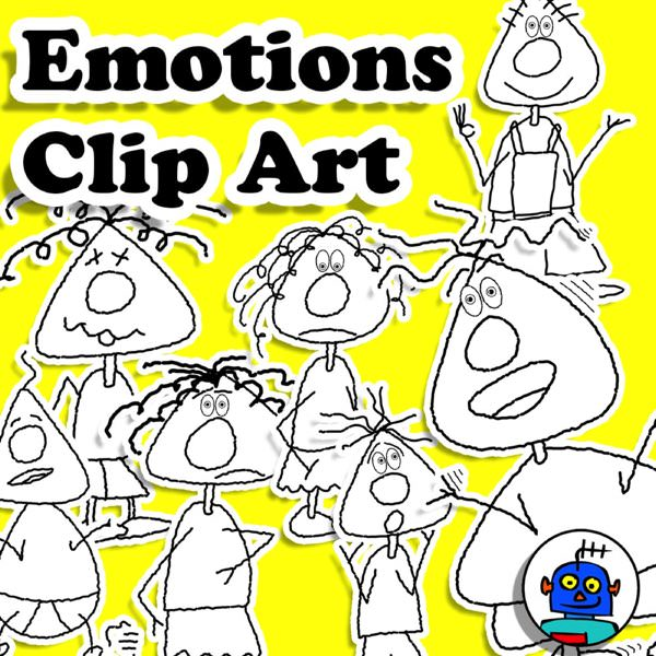 emotions and feelings clip art teachers pay teachers bnw