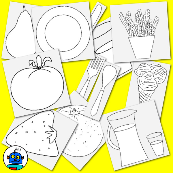 food and cutlery clip art black and white line