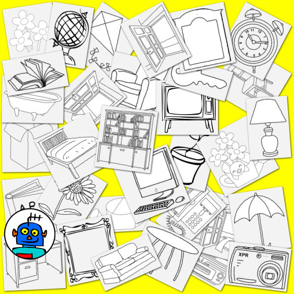 household objects clip art line