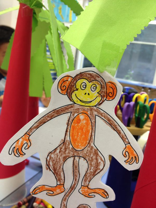 Monkey in a palm tree craft
