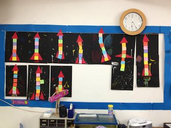 classroom wall display of rockets