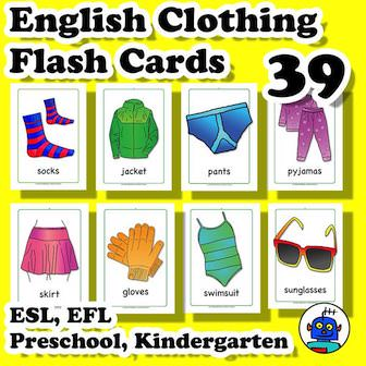 ESL English Clothing Flash Cards