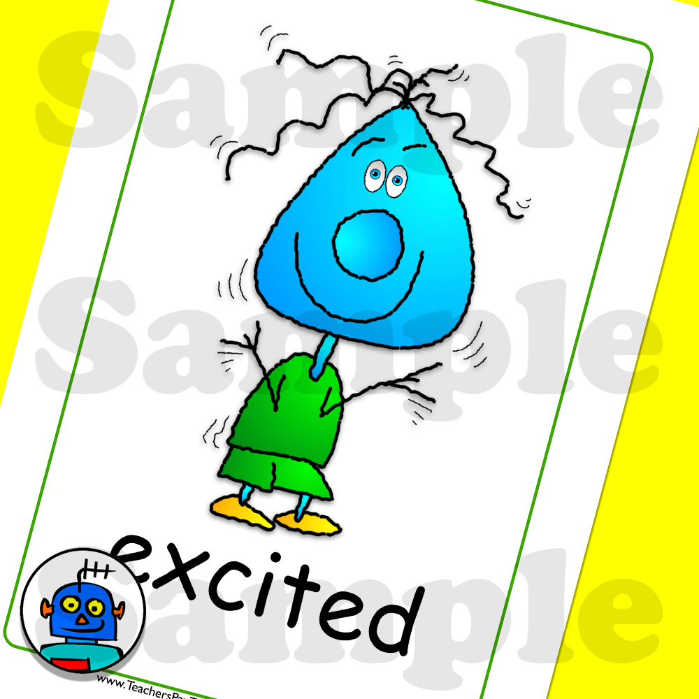 Emotions Flash Cards Excited