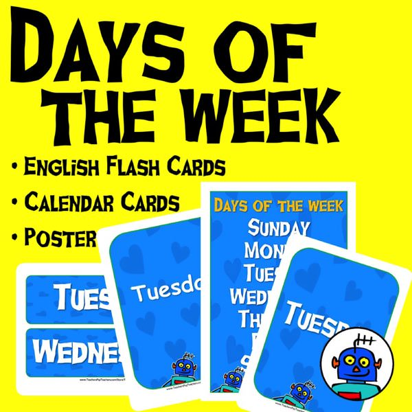 English Days of the Week Flash Cards and Poster