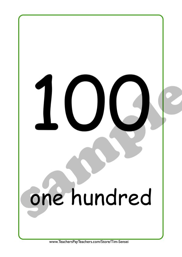 English Flash Cards Numbers Sample 100