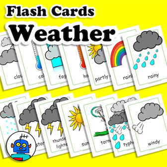 English Flash Cards Weather ESL EFL
