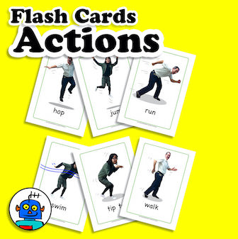 English Flash Cards for Actions ESL