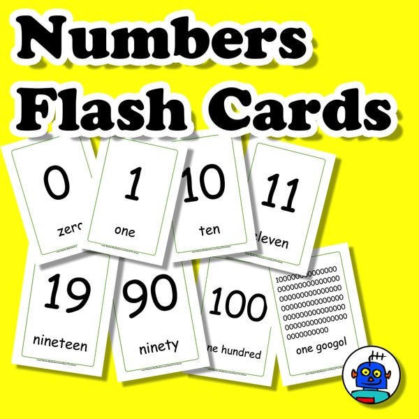 English Numbers Flash Cards