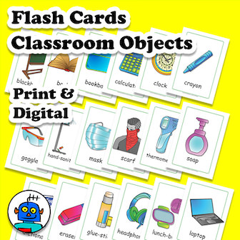 English Flash Cards Classroom Objects