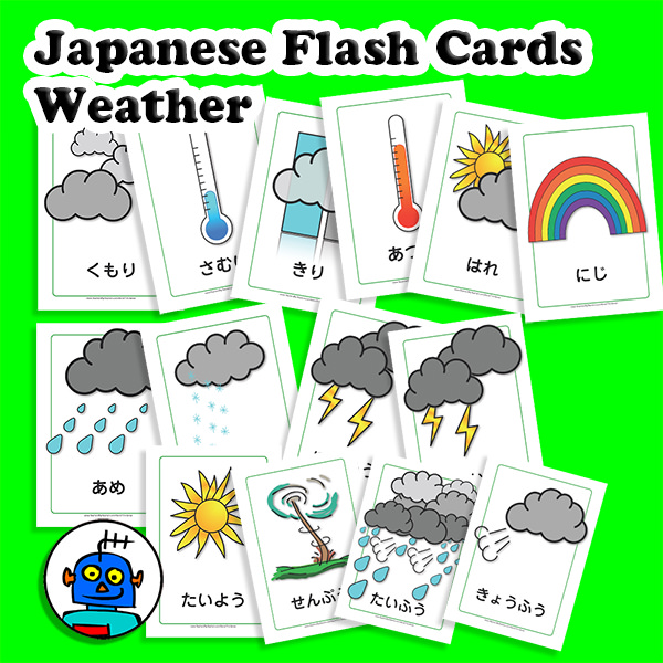 Flash-Cards-Japanese-Weather-Hiragana