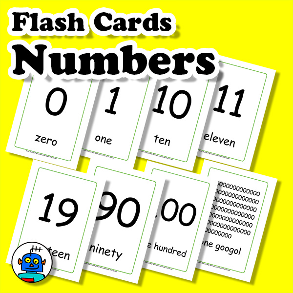 Flash Cards Numbers English ESL