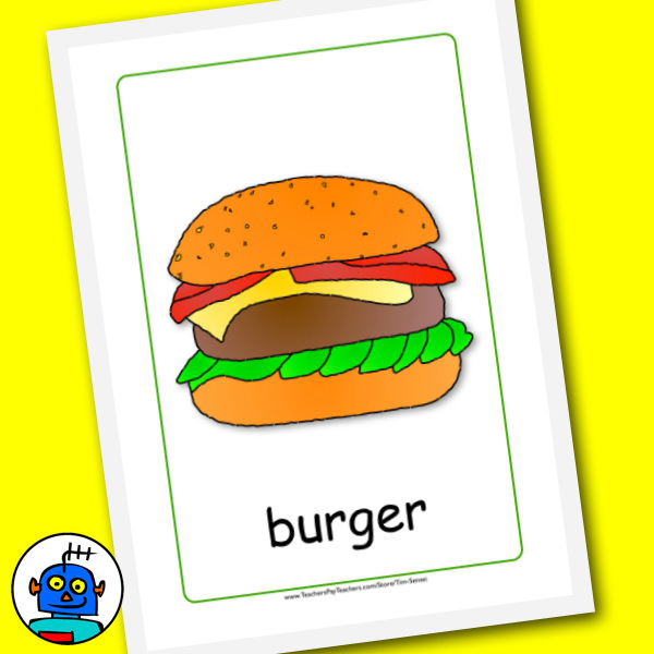 Food Flash Cards Hamburger