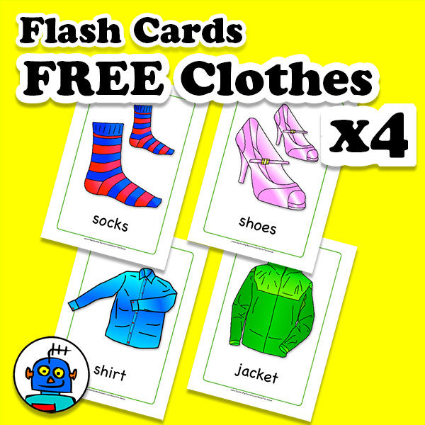Free Clothes and Clothing Flash Cards