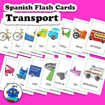 Spanish Flash Cards Transporte