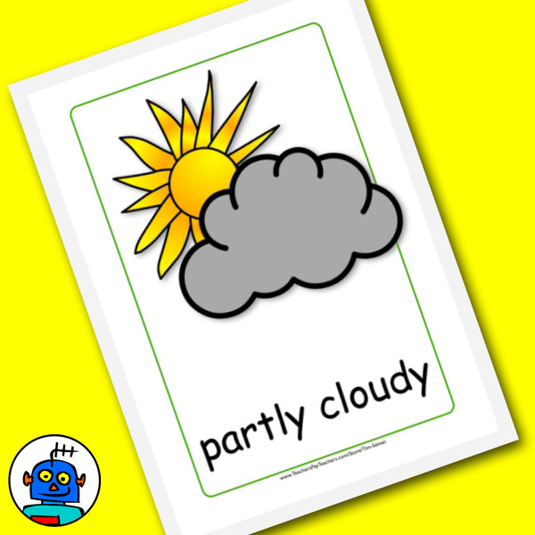 Partly cloudy flash card