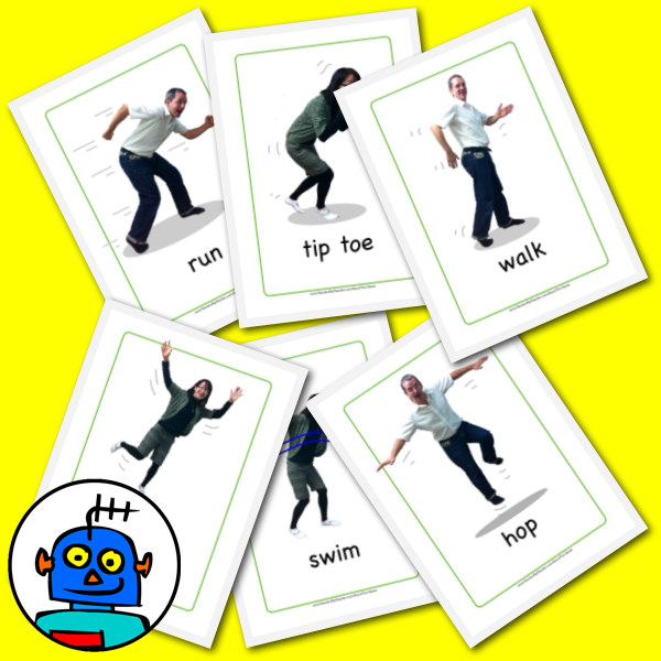 English Action Flash Cards