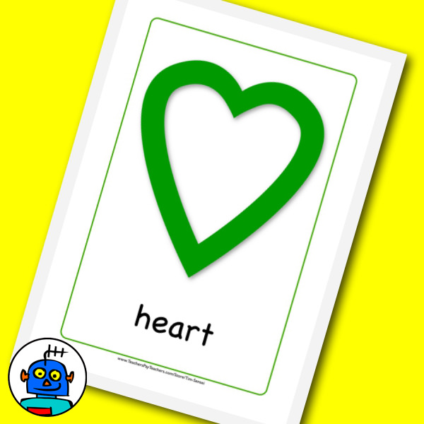 Green heart shaoe flash card