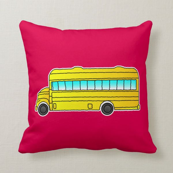American school bus pillow cushion