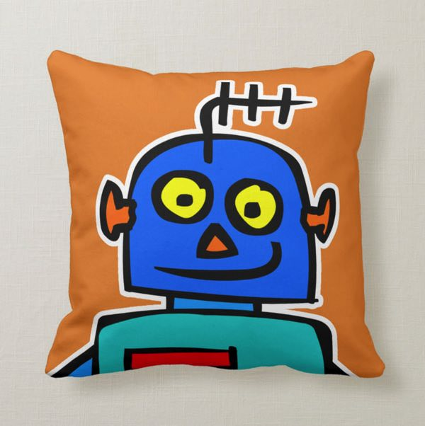 kids blue orange robot pillow cushion