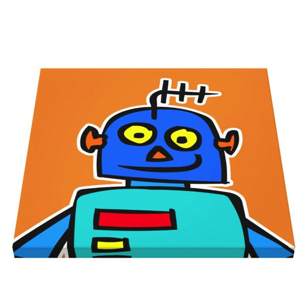 robot canvas print for kindergarten or studio